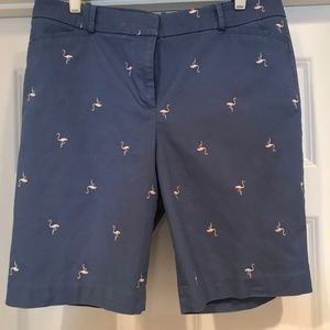 Talbots Blue Shorts with pink flamingos